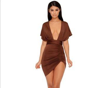 Plunge thigh split mini dress